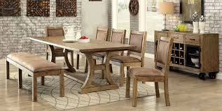 gianna rustic pine extendable rectangular dining room set from
