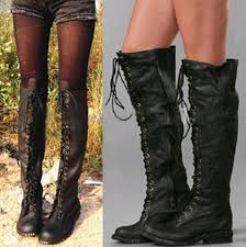 lace up moto boots vintage style real leather knee high boots lace up thigh high knight