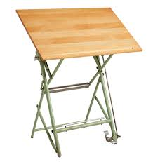 Foldable Drafting Table Collapsible Drafting Table W Mint Green Finish Rejuvenation