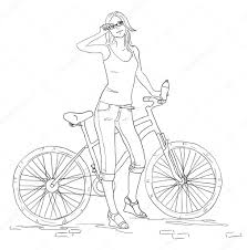 young woman with bike line sketch pretty in jeans u2014 stock