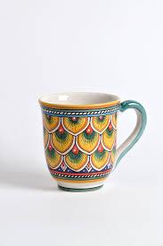 deruta ceramic mug peacock feathers different colours mugs