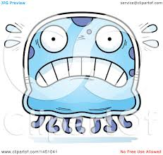 clipart graphic of a cartoon scared jellyfish character mascot