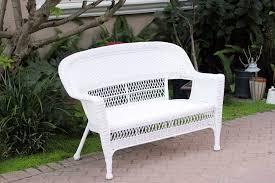 Amazoncom  White Wicker Patio Love Seat  Patio Lounge Chairs - White wicker outdoor furniture