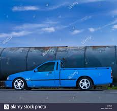 ford truck blue blue ford sierra pickup truck ute slammed modified stock photo