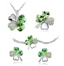 green crystal necklace set images Bodyj4you fashion jewelry set four leaf clovers 5 piece set green jpg