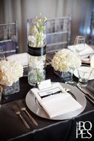 Black And Silver Centerpieces by Classic Black U0026 White Charleston Wedding Photography Weddings