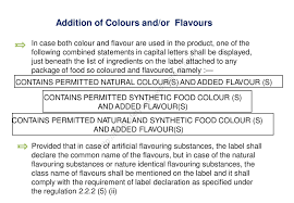 list of colours fssai labelling for pre packaged foods pespro