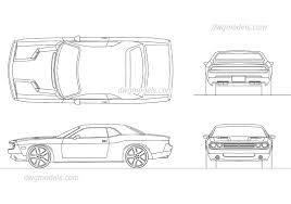 Dodge Challenger Drawing - dodge challenger 2008 autocad drawings cad blocks download