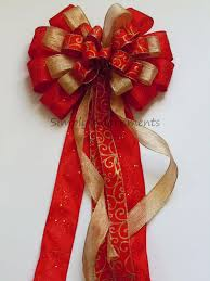 gold bow and gold tree topper bow
