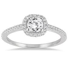 white gold halo engagement rings ags certified 3 4 carat tw halo engagement ring in 14k