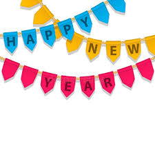bunting decoration with happy new year text colorful garland