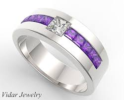 wedding band for princess cut amethyst wedding band for mens vidar jewelry
