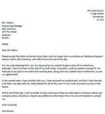 resignation letter zero hour contract letter of resignation
