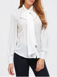 blouses with bows at neck white tie neck blouse cheap shop fashion style with free shipping