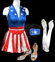 Red White Blue Halloween Costumes Captain America Avenger Dancing Costume