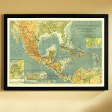 Caribbean Maps by 1922 Countries Of The Caribbean Map Framed National Geographic
