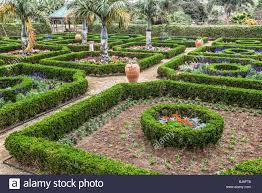 Bermuda Botanical Gardens Clipped Boxwood Hedges Are Part Of The Formal Gardens In The