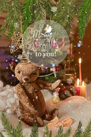 card with teddy tree ornaments gold