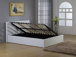White Small Double Bed Frame by Ottoman Storage Beds