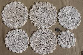 table mats and coasters doily lot crochet lace doilies table mats coasters goblet rounds