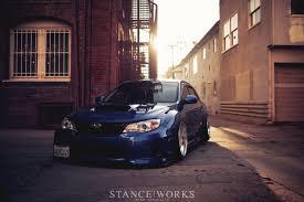 subaru stanced blue jaycee u0027s subaru wrx on slant lip bbs rs wheels
