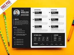 creative horizontal cv resume template psd