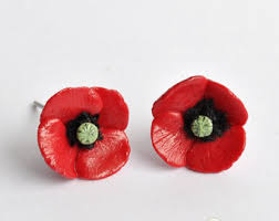 poppy earrings poppy stud earrings etsy