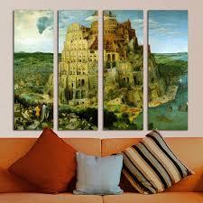 art painting for home decoration 4 panel colosseum landscape print frameless canvas art painting