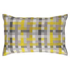 pixelate grey and yellow patterned jacquard rectangular pillowcase