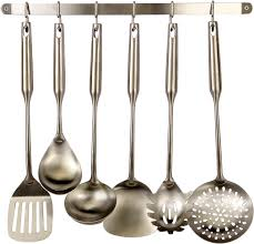 pro chef kitchen tools stainless steel utensil hanging rack 6