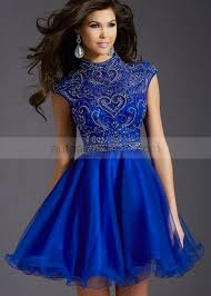 royal blue dress a line high neck royal blue organza beaded knee length prom dress