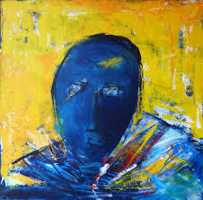 bold colors paintings abstract expressionism people in black blue dark