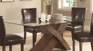 Dining Room  Intrigue Glass Top Dining Table With Stone Base - Glass top dining table montreal