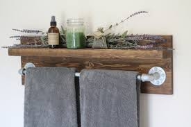 Bathroom Glass Shelves With Towel Bar Bathroom Exciting Towel Holders For Wall Rack Bathroom Ideas