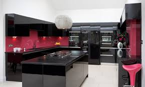 black gloss kitchen ideas black gloss kitchen with pink accents modern handleless island