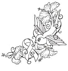 canser ribbin tattoos bird with hibiscus and cancer ribbon