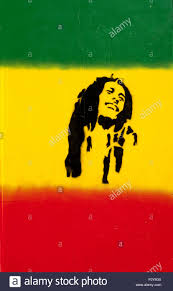 Green Yellow Red Flag Stencil Artwork Of Bob Marley On Red Yellow And Green Flag