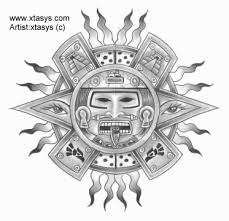 aztec sun and tribal design