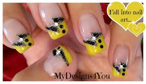 black and yellow french tip nail art diseño uñas francés negro