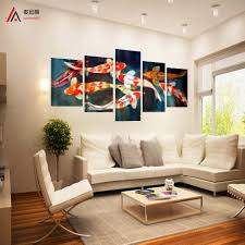 online shop 5 panel canvas art koi fish wall art chinese painting