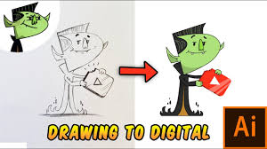how to turn your sketch to a digital art in illustrator tutorial