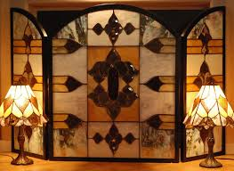 buy a custom stained glass fire screen with 2 matching made to