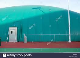 Outside Of Inflatable Indoor Tennis Court Building Stock Photo