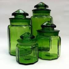 vintage glass canisters kitchen vintage l e smith moon green glass footed basket glass