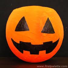 Paper Mache Pumpkin Papier Mache Jack O U0027 Lantern Craft Kids U0027 Crafts Firstpalette Com