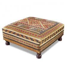 furniture round fabric coffee table kilim ottoman kilim