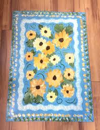 Yellow Kitchen Rug Runner with Sunflower Floor Cloth Area Rug Blue Yellow Kitchen Mat Runner