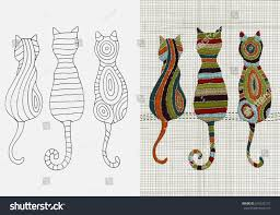 set embroidery patterns cats zentangle style stock vector