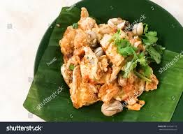 popular cuisine delicious fried oysters eggs omelette ภาพสต อก 634746173