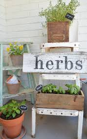 Herb Shelf Herb Garden With Vintage Boxes